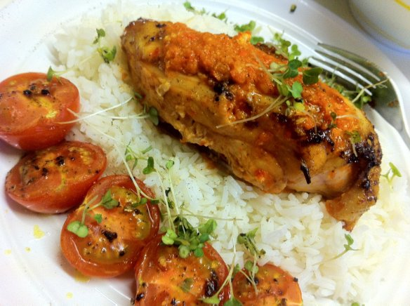 Piri Piri Chicken (with roasted tomatoes and plain rice)